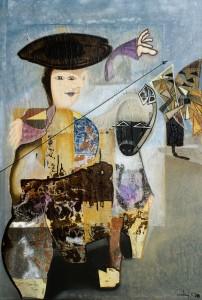 Don Chisciotte Alonso Quijano il coraggio di essere acrilico e collage su tela 100x150 anno 2009