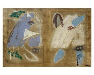 biga etrusca acrilico e collage su tela 80x120 anno 2008