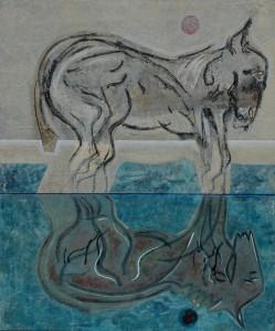 doppio ego_acrilico e collage su tela_100x120_anno 2011